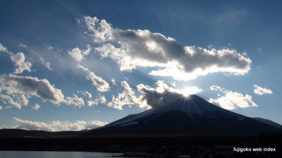 湖畔からのダイヤモンド富士