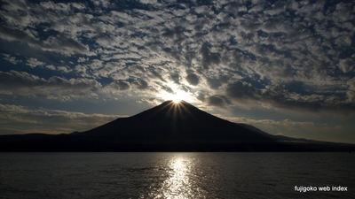 うろこ雲とダイヤモンド富士