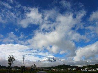 晴れ間と富士山とチューリップ