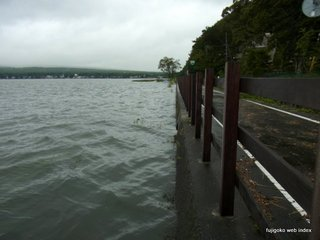 台風12号で増水@山中湖