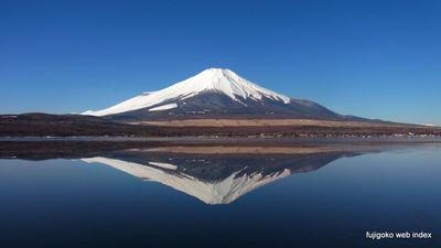 氷間の逆さ富士@山中湖
